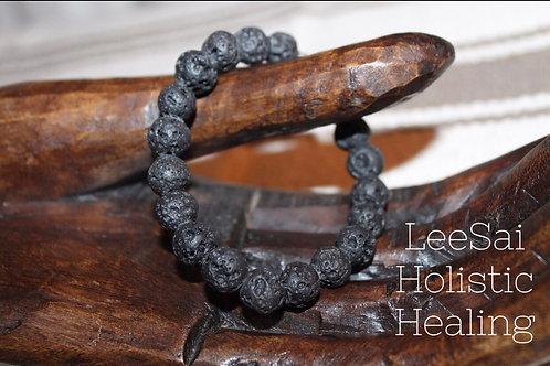Lava Stone Reiki Attuned Unisex Chakra Healing Bracelet