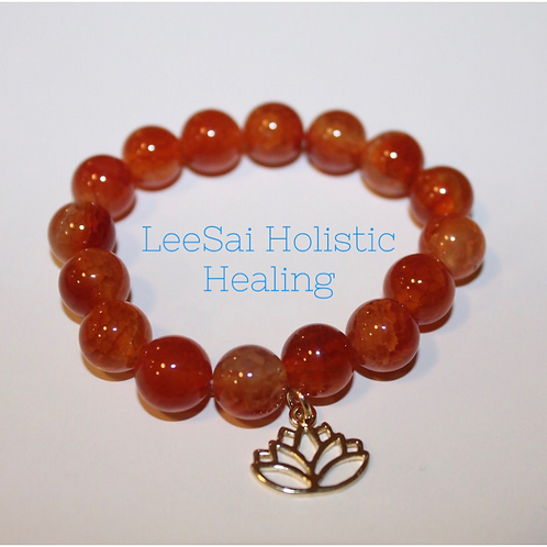 CARNELIAN With 14k Gold Plated Lotus Flower Charm