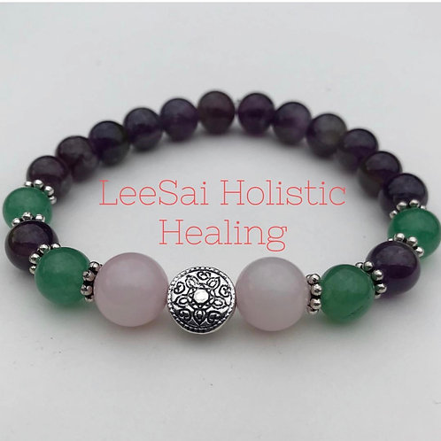 Attract Love Reiki attuned Chakra Healing Bracelet with Silver Plated Charm
