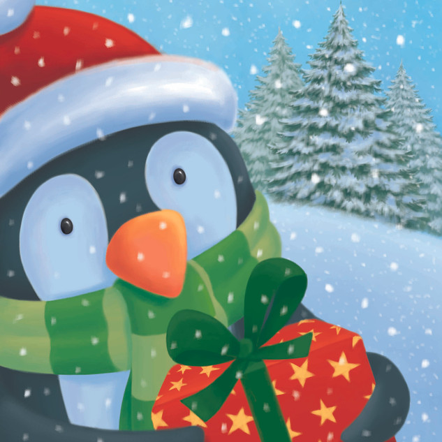 Penguin with present