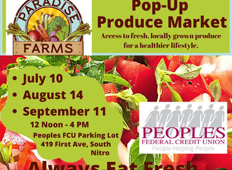 Pop-Up Produce Market Continues in August and September at Peoples Federal Credit Union!