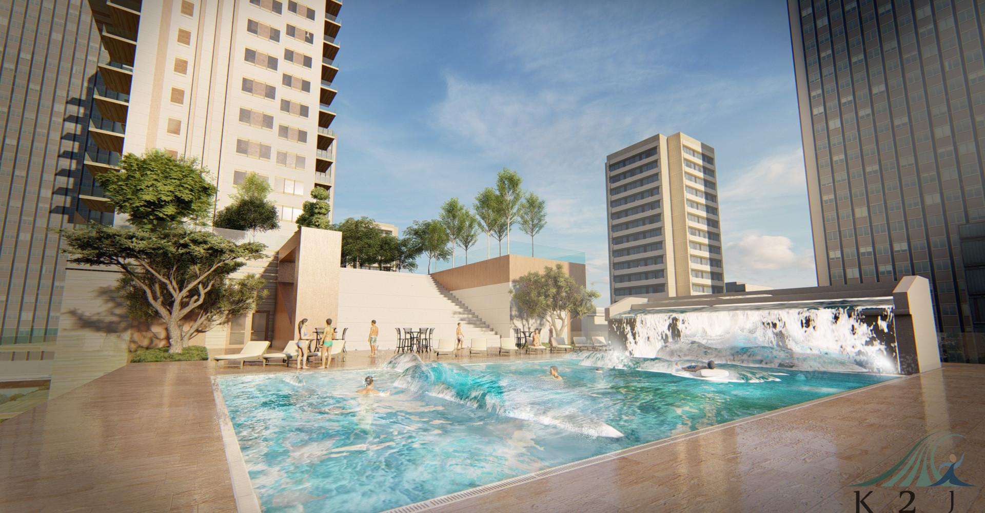 Wave pool บนดาดฟ้าอาคาร