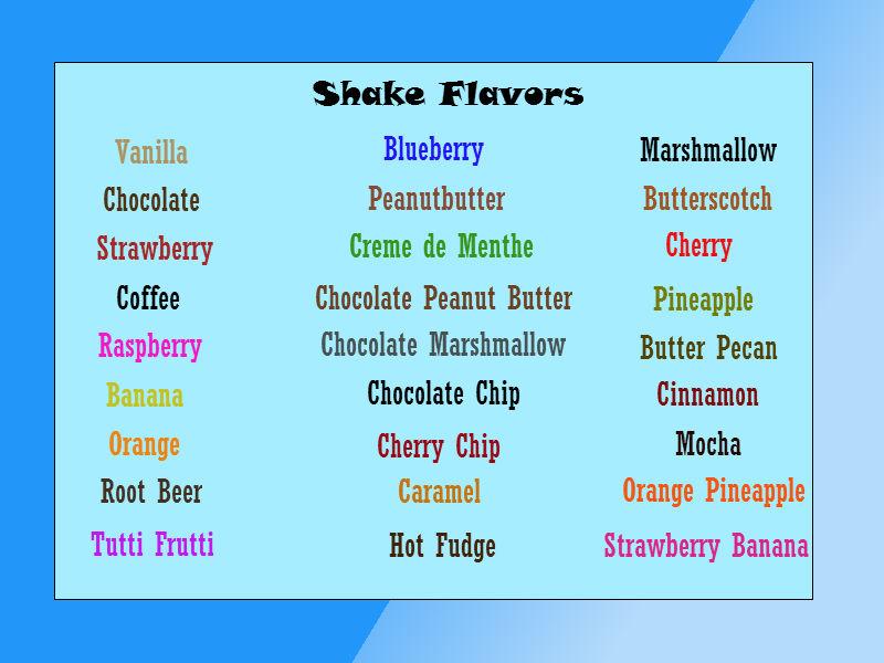Shake Flavors