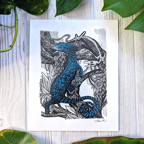 Blue Tree Monitor & Skeleton Medium 8x10 Print