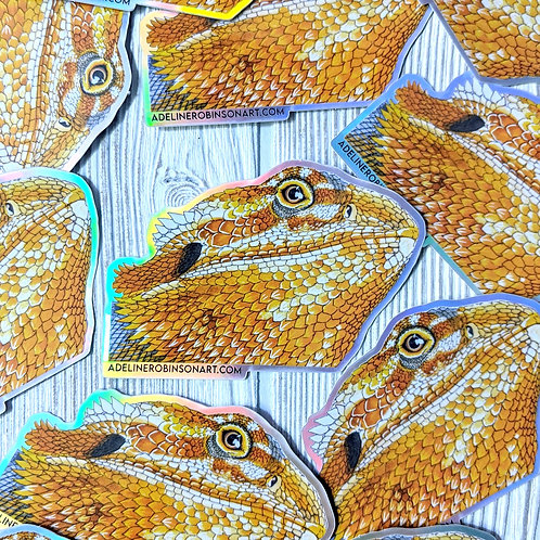 Bearded Dragon Holographic Sticker