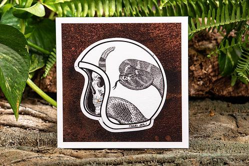 Rattlesnake Helmet Small 5.5x5.5 Square Print