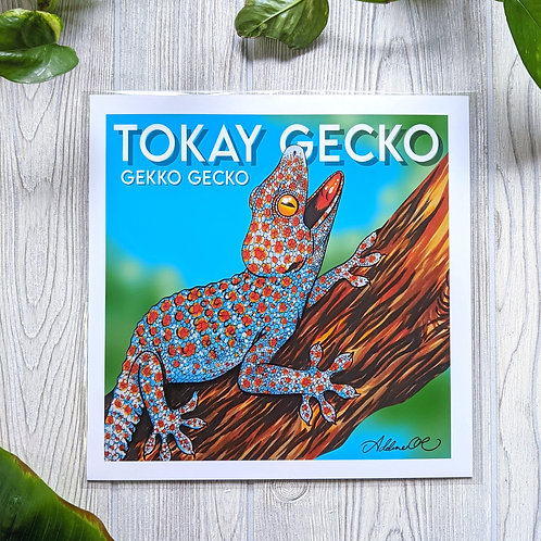 Tokay Gecko with name Large 10x10 Print