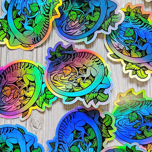 Blue Tree Monitor Holographic Sticker