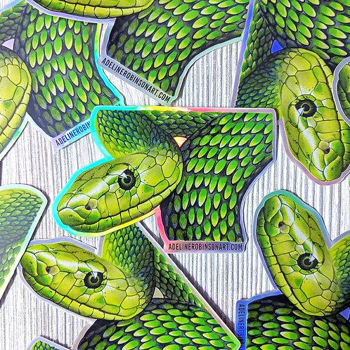 Green Mamba Holographic Sticker
