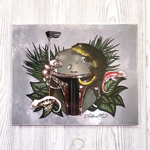 Geckos on Helmet 8x10 Print