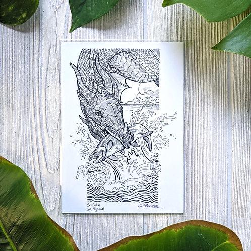 Dragon Hunting Small 5x7 Print