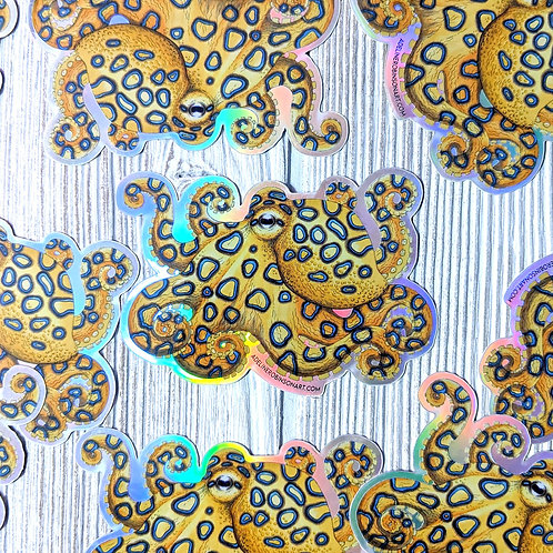 Blue Ringed Octopus Holographic Sticker