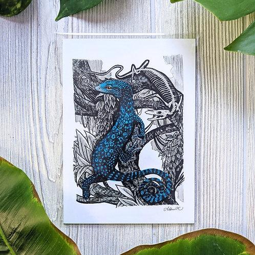 Blue Tree Monitor & Skeleton Small 5x7 Print