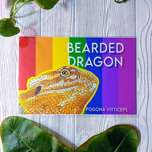 Bearded Dragon Rainbow Metallic Medium 8x12 Print