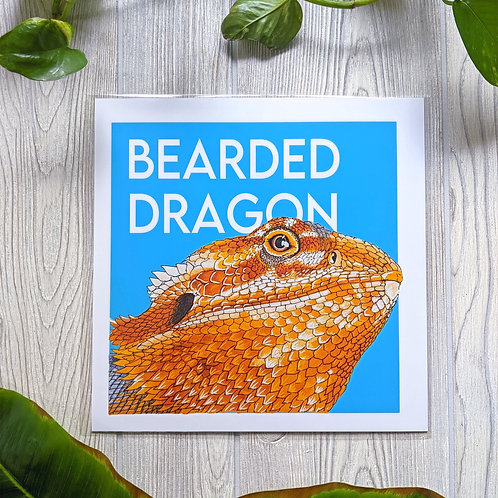 Bearded Dragon with name Large 10x10 Print