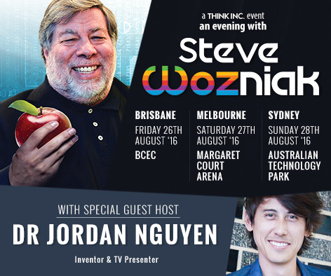 Dr Jordan Nguyen to Host Steve Wozniak for his Think Inc Tour in Australia