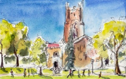 Watercolor of Carleton Chapel, Maria Coryell Martin