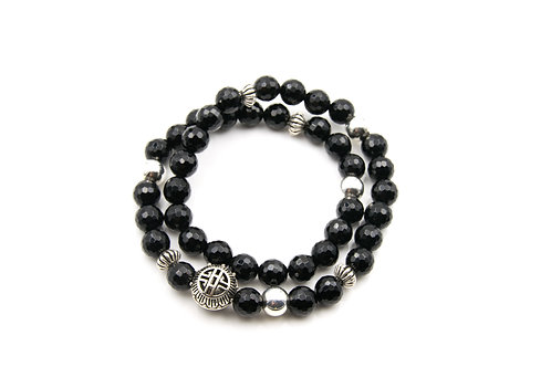 Black Onyx Silver BALI Double Loop Bracelet