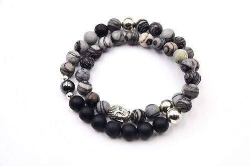 Black & grey Zebra Double loop