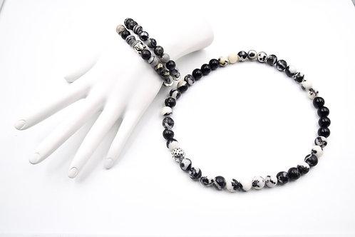 Black, Grey & White Zebra Bracelet and Choker Necklace Combo