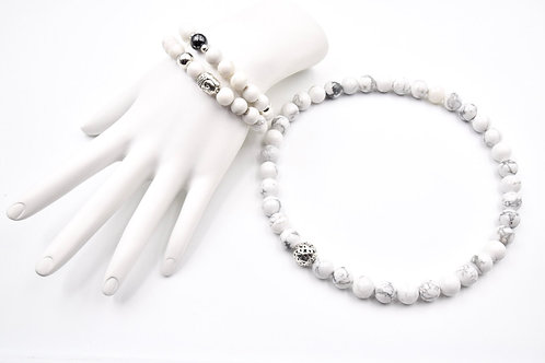 PURE white Bracelet and Choker Necklace Combo