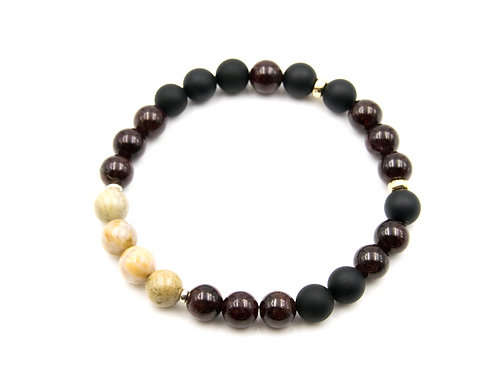 Gentleman's Carnelian & Onyx 14K Gold Bracelet