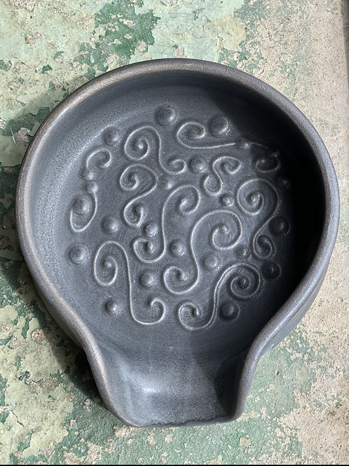 Satin Charcoal Scrollwork Spoon Rest