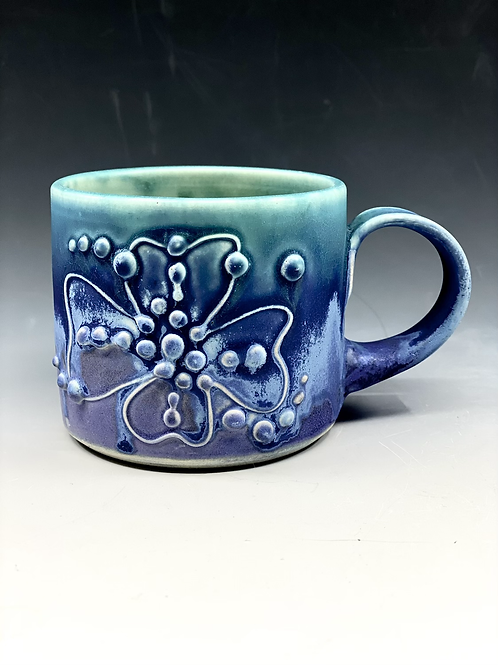 Purple and turquoise matte dogwood mug