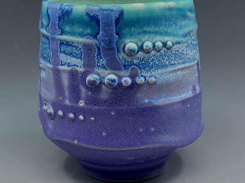 Turquoise and Purple Tidal Whiskey Cup