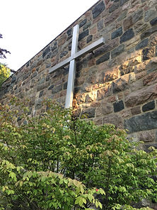 Fielstone wall and cross facing Hill Street