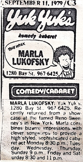 Marla headlines at Yuk Yuks Toronto Star Ad
