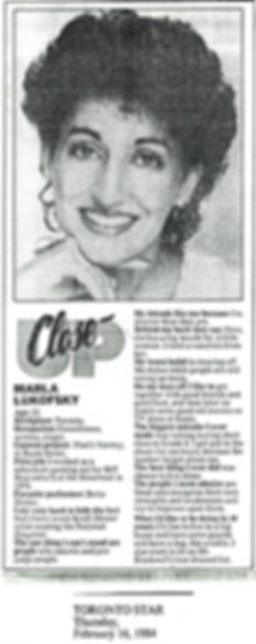 1984 Toronto Star Closeup on Marla Lukof
