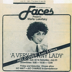 Marla's Show held over in Vancouver's 'Faces' Poster