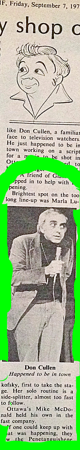Ottawa Citizen Review of Marla's stand-up comedy set in Ottawa lineup, closeup