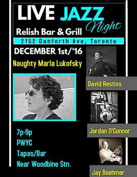 Marla Lukofsky Quartet Show @ Relish Dec.1st Poster w. David Restivo