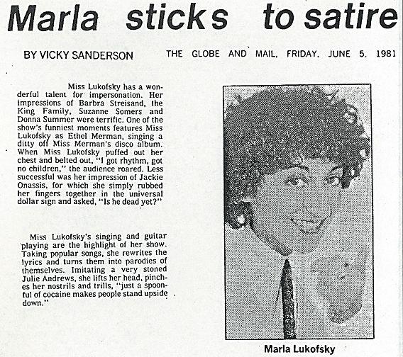 1981 Globe and Mail Marla sticks to Sati