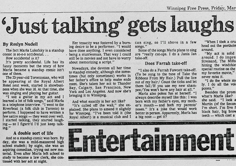 1980 Winnipeg Press Just Talking Gets La