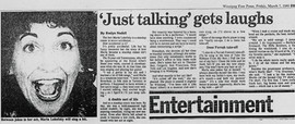 """Winnipeg Press """"Just  Talking Gets Laughs' review and feature article"""