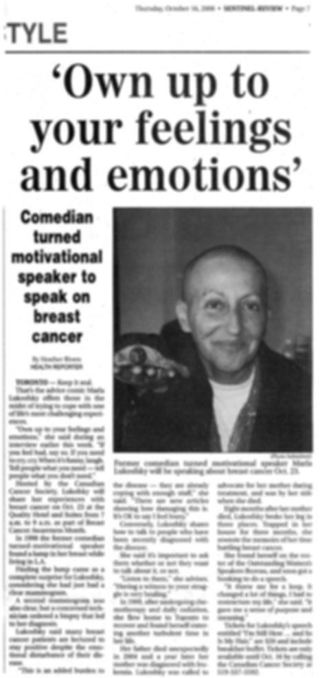Sentinel Review Marla Lukofsky Speaker Comedian Cancern