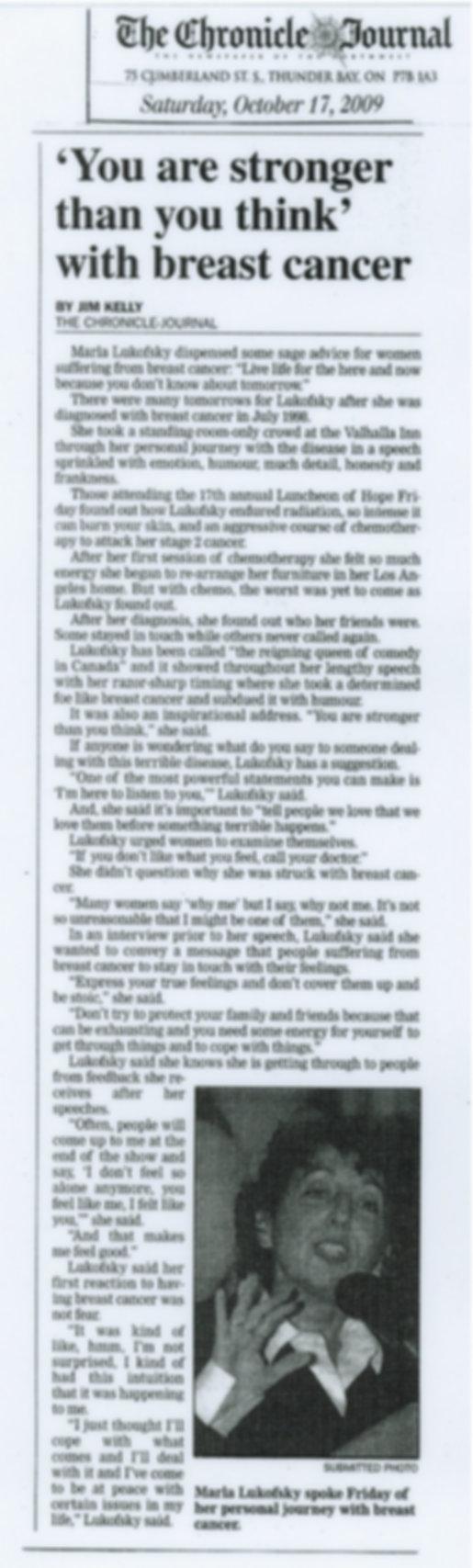 2009 Thunder Bay Chronicle Journal Marla Lukofsky Cancer Comedy