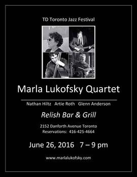 Marla Lukofsky Quartet @ Relish for TD Jazz Festival