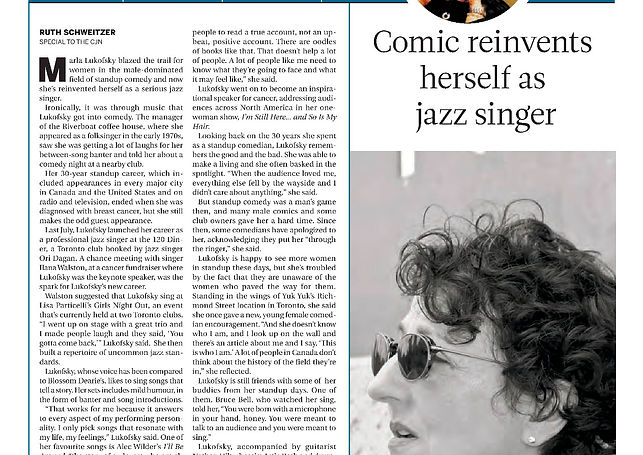 2016 Marla Lukofsky  Comic Reinvents herself as Jazz Singer in CJN by Ruth Scweitz
