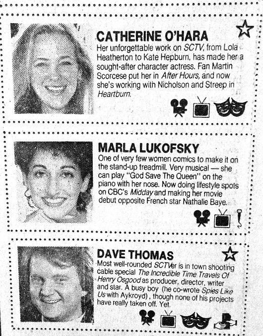 1986 Toronto Star bright comedy stars ed
