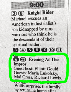 'Evening at The Improv' in Hollywood starring Marla Lukofsky, Richard Lewis and Elliot Gould