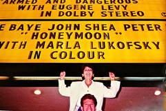 Honeymoon Marquee w Marla's name up in lights
