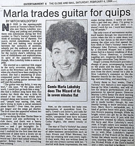 1984 Globe and Mail Marla Trades Guitar