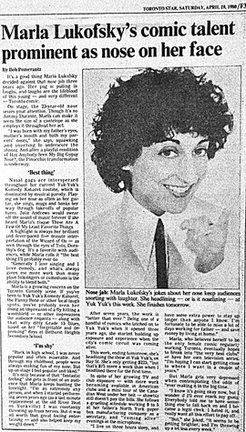Toronto Star article features comedian Marla Lukofsky
