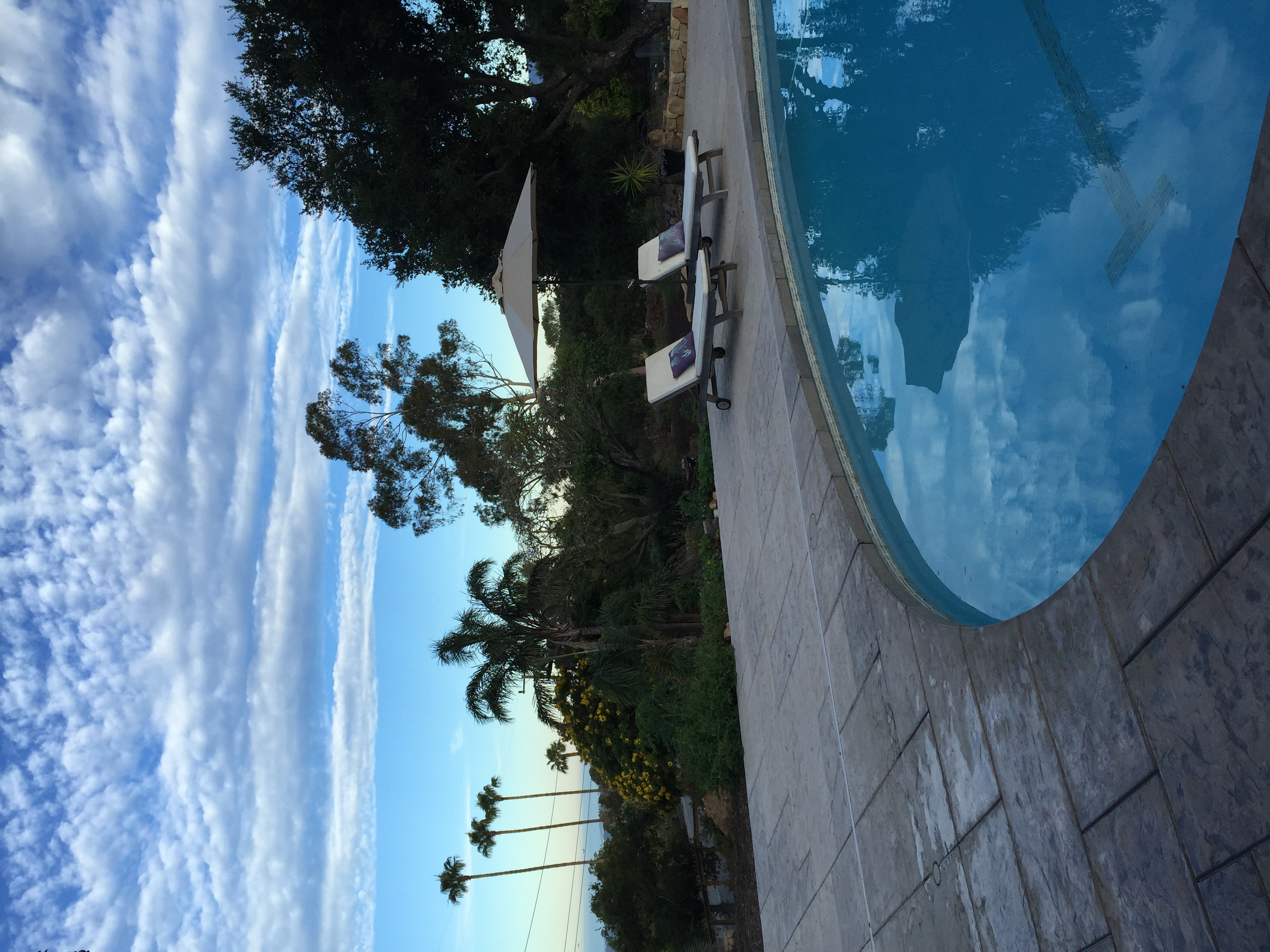 nice clouds over pool