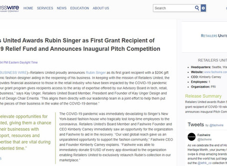Rubin Singer Announced as First Grant Recipient