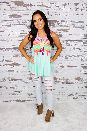 Mint Malibu Aztec Top